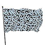 Hanging Flag Dekor,Flagge,Fahne,Garten Banner,Sexy Hellblaue Leopardenmuster Graue Polyesterfahne - Lebendige Farbe Und Uv-Lichtechtheit Für Den Außen-/Innenbereich 150X90 cm