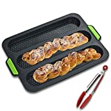 Nonstick Silicone Baguette Pan, for French Bread Baking,3 Wave Loaves Perforated Bake Mold,Loaves Each Loaf 11'x2.3' Perfect for Breadstick & Rolls, with Tongs,Dark Gray
