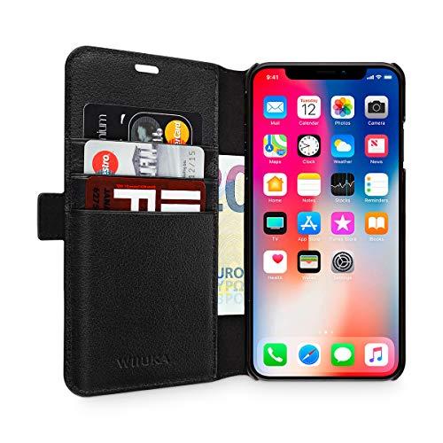 WIIUKA Echt Ledertasche - TRAVEL Away - für Apple iPhone X und XS mit Vier Kartenfächern, kabelloses Laden Qi, extra Dünn, Tasche Schwarz, Leder Hülle kompatibel mit iPhone X/XS