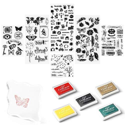 Mignor Stempelset 5 Farben Stempelkissen,6 Stücke Muster Transparent Pvc Silikon Stempel für Diy Scrapbooking Karte Album