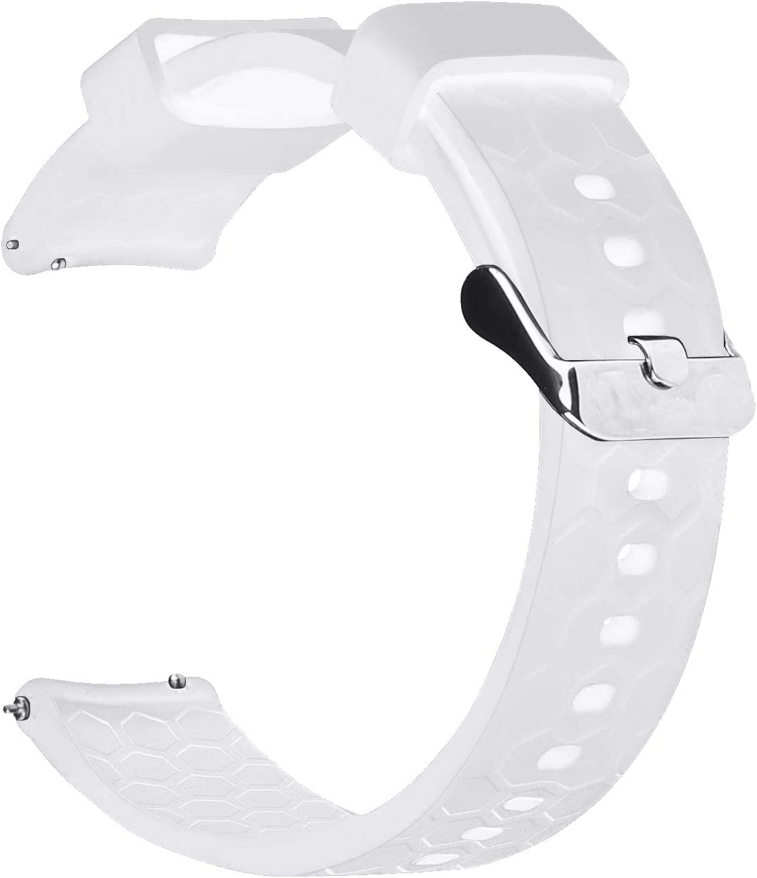 Watch Band/Strap for Pebble Time Smartwatch Band Replacement Accessories with Metal Clasps Watch Strap/Wristband Silicone (White)