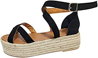 Gnpolo Womens Platform Sandals with Straps - Flat Open Toe Flatform Strappy Summer Shoes