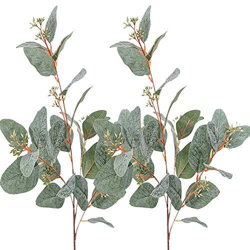 """Aisamco 3 Stück Künstliche Samen Eukalyptus Blätter Spray Faux Künstliche Eukalyptus Vorbauten Groß in Grau Grün 33"""" Hoch für Eukalyptus Kranz Bouquet Blumenschmuck Herzstück Urlaub Grün"""