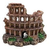 QQY Resina columna romana castillo ruinas decoración volcán acuario decoración retro nostálgico tanque de peces decoración paisaje pecera adornos (A)