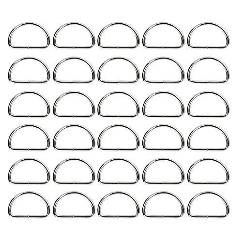 Ymwave 30 Stück D Ring aus Stahl 32mm,Metall D Ringe Halbringe Nicht Geschweißte Schnallen für Tasche,Schnalle,Gurte,Rucksack,Bastelzubehör,Silber