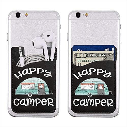 Interieur Shop, telefoonkaarthouder Happy Camper camping geschenken CosplyAdhesive Stick-onCard Wallet Telefoonhoes Pouch Sleeve Pocket Compatible