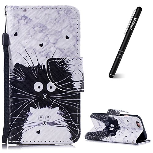 Slynmax iPhone 6 Hülle Schwarz Weiß Katze Handyhülle PU Leder Flip Case Ultra Slim Wallet Case Lederhülle Silikon Backcover Tasche PU Schutz Etui Magnetverschluss Standfunktion Schutzhülle