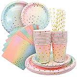 Juego de Vajilla desechable de papel de punto dorado para fiestas, platos tazas servilletas pajitas para fiesta de cumpleaños, boda, compromiso, aniversario, celebración, Navidad