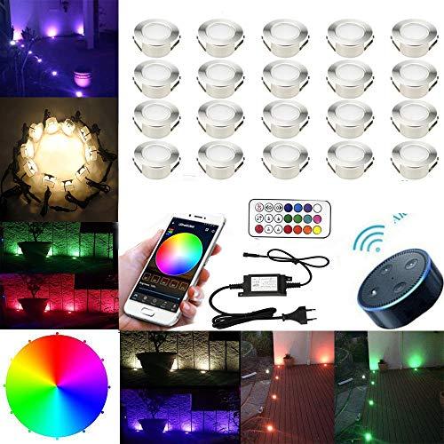 SUBOSI RGBWW (4 in 1) LED Bodeneinbauleuchten Arbeitet mit Alexa,Led Einbaustrahler DC12V Ø61mm LED Boden WiFi Wireless Smart Phone 20er Full Kit