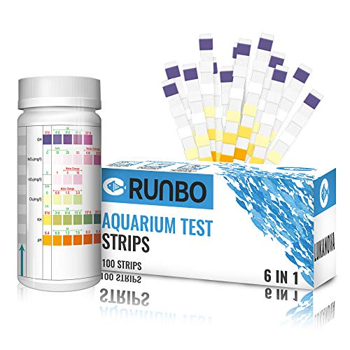 RUNBO Aquarium 6 in 1 Test Strips for Fresh/Salt Water, 100 Counts Easy and Accurate Test Nitrate, Nitrite, General Hardness, Free Chlorine,PH, Carbonate