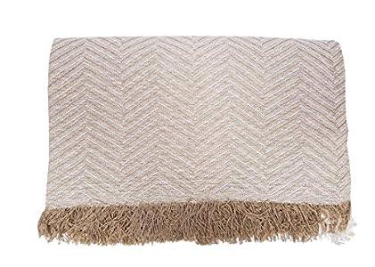 ADP Home - Plaid/Colcha Multiusos Zigzag Ideal para Cama o Sofá (Medida: 230x260 cm), Beige