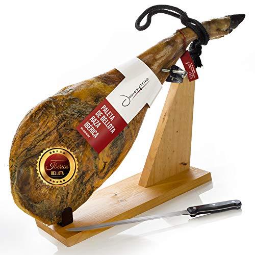Pata Negra Schinken aus Eichelmast (Vorderschinken) 4 - 4.5 Kg + Schinkenhalter + Messer - Spanischer Iberico Schinken Bellota
