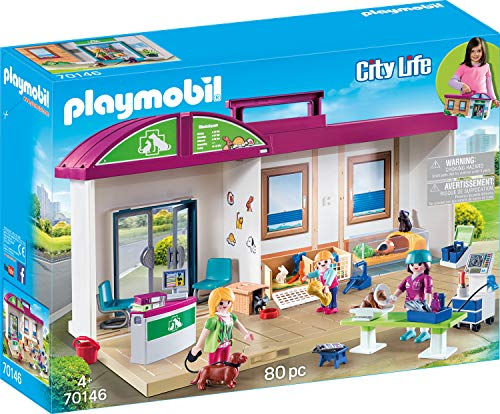 PLAYMOBIL- City Life Maletín, Clínica Veterinaria, Multicolor (70146)