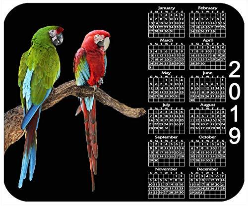 Benutzerdefiniertes mauspad, Personalisiertes mauspad mit jahreskalender 2019 - papageien - fügen sie einen beliebigen text hinzu