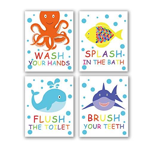 4 Set- Colorful Bathroom Animal Quote Art Print, Wash Splash Flush Brush Bathroom Sign Canvas Wall Art Printing, Octopus Fish Shark Whale For Kids Washroom Decoration (Unframed,8