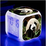 HHIAK666 Animal World Pet Panda 7 Color Ing-Change Reloj De Alarma Creativa, Led Alarma Electrónica De Regalo 15