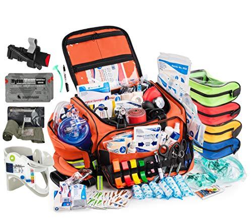 Scherber Fully-Stocked Premium First Responder Bag | Large Professional EMT/EMS Trauma & Bleeding Medical Kit | CAT Tourniquet, HyFin Vent Chest Seal, Israeli Bandage & 250+ First Aid Supplies, Orange