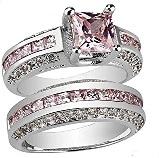 Women's Ring Two pieces silver inlaid with pink zircon size 6