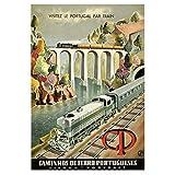 Cartel de viaje en tren vintage Visita Portugal en tren Pinturas clásicas en lienzo Carteles de pared vintage Decoración para el hogar Regalo-50x75 cm x1 Sin marco