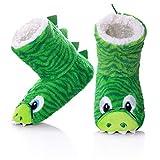FANZERO Kids Girls Boys Slipper Socks Cute Animal Soft Warm Plush Lining Non-Slip Winter House Boot Socks 11.5 Little Kid,Green