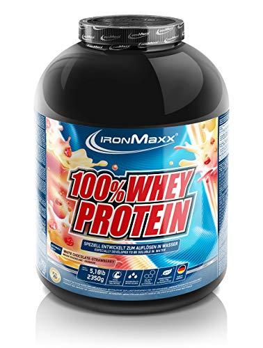 IronMaxx 100% Whey Protein – Whey Proteinpulver auf Wasserbasis – Eiweiß Pulver mit Erdbeere-Weiße Schokolade Geschmack – 1 x 2,35 kg Dose