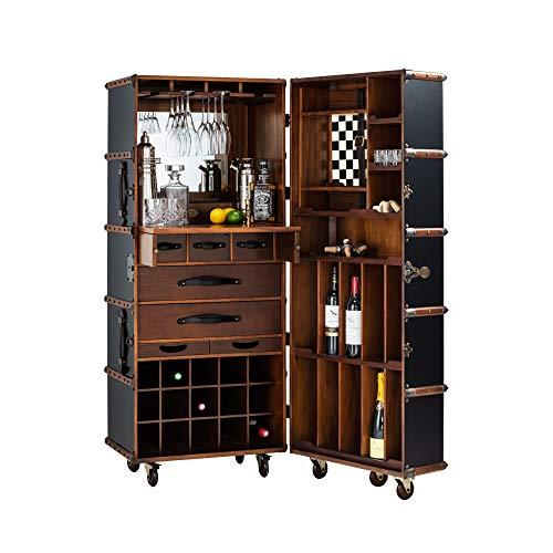 Authentic Models - Hausbar, Barwagen, Barschrank - Barkoffer - Überseekoffer - Stateroom Bar - Schwarz - Maße (LxBxH): 62 x 59 x 147 cm