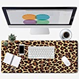 ZYCCW Large Gaming Mouse Pad, Oversized Extended Mat Desk Pad Keyboard Pad (31.5'x11.8'x0.15') Thick Non-Slip Rubber Stitched Edges (Leopard Print)