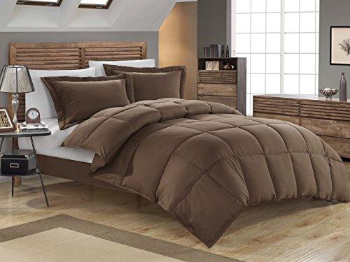 KingLinen Chocolate Down Alternative Comforter Set Full/Queen