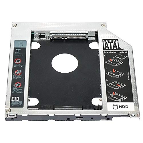 2.5' 9.5mm SATA 2nd HDD SSD Hard Drive Caddy Adapter For MacBook Pro Unibody A1278 A1286 A1297 CD ROM Optical Bay - Black