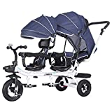 AI-QX Kids 4 in 1 Trike Children Tricycle Double Seats for Twins, Baby Infant 3 Wheels Stroller Bike w/Canopy & Basket,B