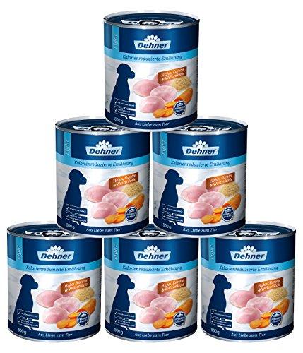 Dehner Premium Hundefutter Light Huhn, Karotten und Weizenkleie, 6 x 800 g (4.8 kg)