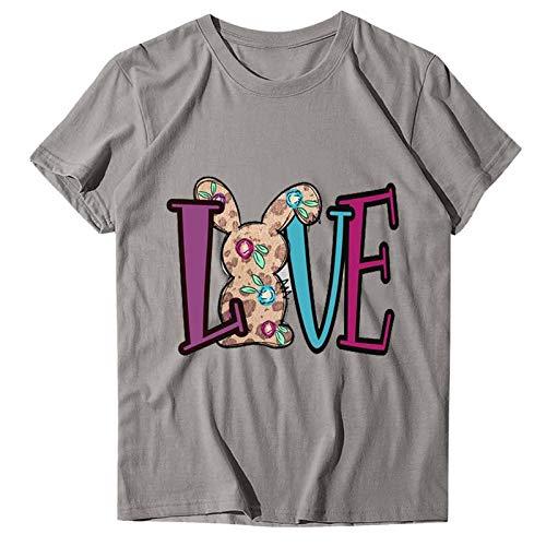 Camisetas de Mujer de Moda Camiseta de Las SeñOras de Pascua para Mujer Blusa de Talla Grande Camisa con Estampado de Conejo Casual Cuello Redondo Suelto Manga Corta