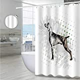 """Interestlee Hunting Decor Stall Shower Curtain 108"""" W x 72"""" L, Sketch of Weimaraner Dog Canine on Grungy Abstract Backdrop Artwork Waterproof Cloth Polyester Bath Curtain, Black Grey Green"""