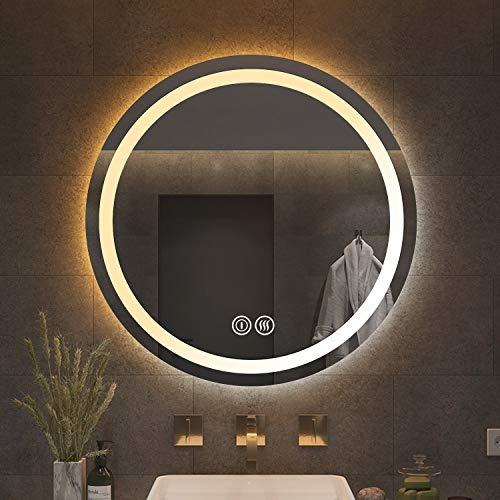Yinleader Espejo de pared para cuarto de baño con iluminación LED redonda de 60 cm con interruptor táctil, espejo de luz tricolor regulable en la temperatura, luz blanca cálida y fría