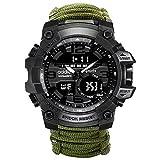 Emergencia Wilderness Survival Watch Paraguas Cordón Silbato Brújula Reloj militar Multifuncional Equipo deportivo al aire libre Reloj para hombre Equipo especial (Morado)