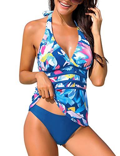 luvamia Women's Two Pieces Halter V Neck Swimsuit Open Back Tankini Set Blue Printed Size L