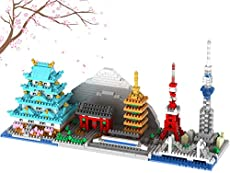 Japan Tokyo Skyline Collection Famous Architecture Model Building Block Set (1350pcs ) Micro Mini Bricks Toys Gifts for Kids and Adults