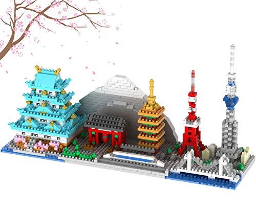 Japan Tokyo Skyline Collection Berühmte Architektur Modellbaustein Set (1350 Stück) Micro Mini Bricks Spielzeug Geschenke für Kinder und Erwachsene