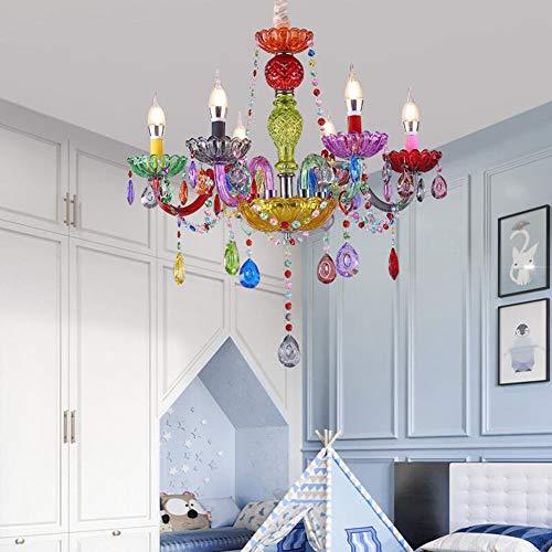 Dongbin Bunte Kristallleuchter-Deckenleuchten, 5 Leuchten Pendant Haus Decke Beleuchtung Leuchter Beleuchtungsvorrichtung for Mädchen-Schlafzimmer, Kidsroom, Wohnzimmer,60 * 69cm