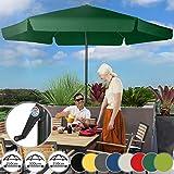 Sonnenschirm in Ø 2,5m / 3m / 3,5m - in Farbwahl, Wasserabweisender Schirmbezug, mit Krempe und Kurbel, aus Stahlrohr - Marktschirm, Gartenschirm, Terrassenschirm, Ampelschirm (Ø 3,5 m, Dunkelgrün)