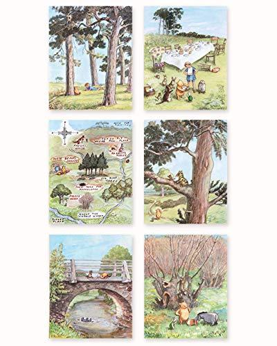 Classic Winnie the Pooh Art, 8x10 (Boys Prints, Baby Girls Nursery Wall Decor, Set of 6) Unframed