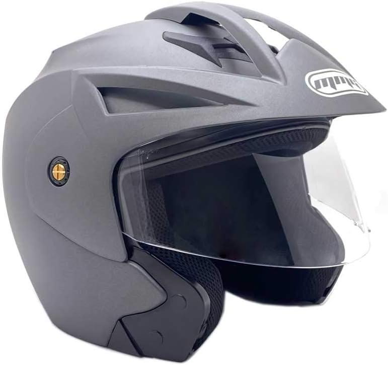 Flip Up Clear Visor Mod 20 MMG Motorcycle Open Face Helmet DOT Street Legal