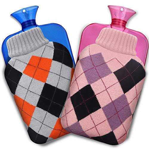 XIMU Borsa dell' Acqua Calda, 2 Pezz Gomma Caldo Bottiglia d'Acqua 2L Mini con Fodera per Maglieria e Lavabile Bottiglia di Acqua Calda in Gomma Hot Water Bottle per Mano Piede Caldo(Grigio & Rosa)