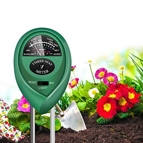 yoyomax Soil Test Kit, 3-in-1 Soil Tester pH Moisture Meter Plant Water Light Tester Testing Kits for Garden Plants