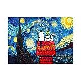 Creatividad Perro blanco bajo el cielo estrellado casa roja Pintura de bricolaje por números para adultos niños técnicas de lienzo pintura de caligrafía regalo de boda artes decorativas-2