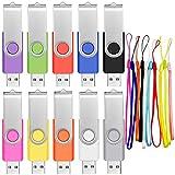 8 GB Pen Drive 10 Piezas Memoria USB 2.0 Giratoria Pendrive 8GB Multicolor Portátil Baratos con 10 Unidades Cordones USB Práctico y Económico para Documentos / Fotos / Mp3 / Vídeo by FEBNISCTE