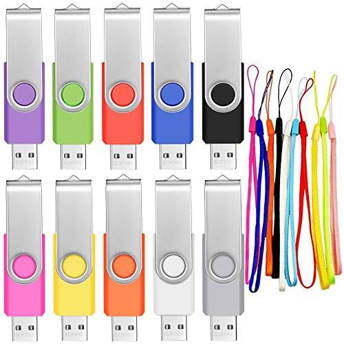 2GB Pendrive 10 Piezas Unidad Flash USB Portátil y Práctico Memorias USB...