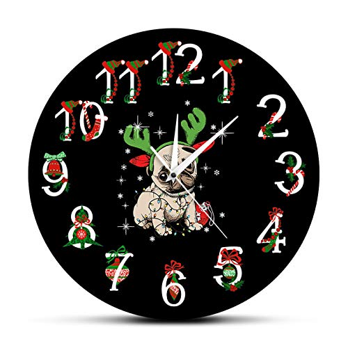 hufeng Wall Clock Pug Christmas Ornament Printed Wall Clock Funny Deer Pug Modern Wall Watch Pug With Antlers Holidays Decoration Dog Owners Gift For Office School Kids Room