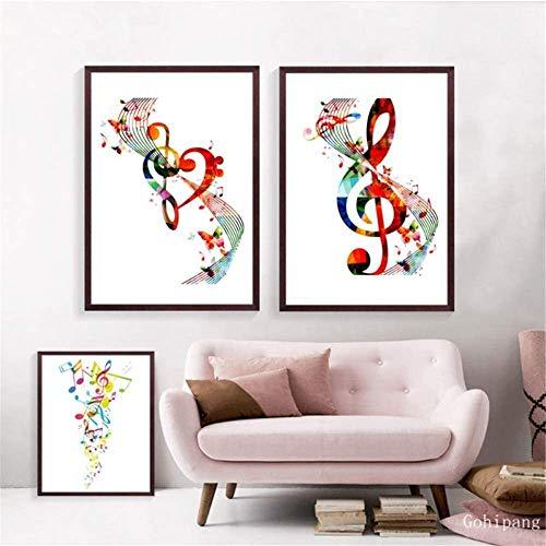 CAPTIVATE HEART Quadro su Tela Pittura Stampa Artistica Decorativa Note Musicali Colorate Immagini murali Note astratte Musica Poster Art Home Musical 2x50x70cm Senza Cornice