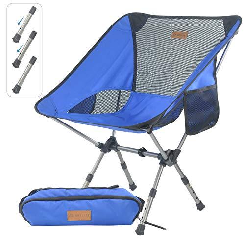 MECHHRE Klappbarer Campingstuhl mit Tragetasche – kompakter, ultraleichter Faltbarer Strandstuhl – Verstellbarer Höhe Tragbarer hoch belastbarer Outdoor Stuhl für Rucksackreisen, Wandern, Camping